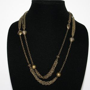 Vintage bronze necklace 48""